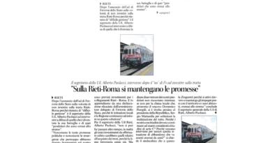 Sulla linea Rieti-Roma si mantengano le promesse !